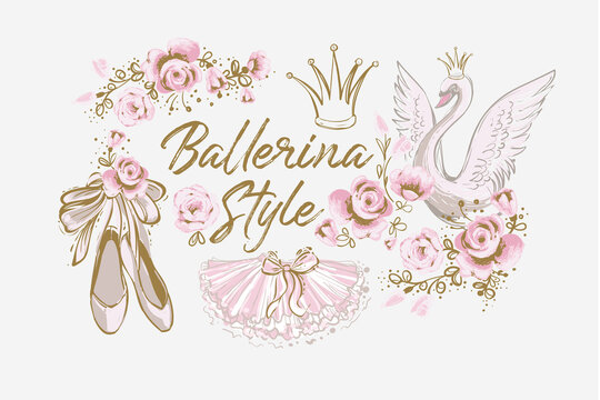 Ballet cute t-shirt print, ballerina crown, princess swan, pointe shoes, tutu skirt. Hand drawn vector gold and pink vintage watercolor illustration on white background. Baby girl fashion design
