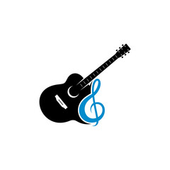 Guitar logo concept design vector template. Simple set of electric guitar vector icons