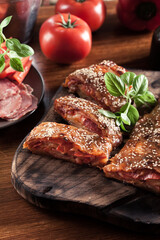 Canvas Prints Italian stromboli stuffed with ham, salami and cheese