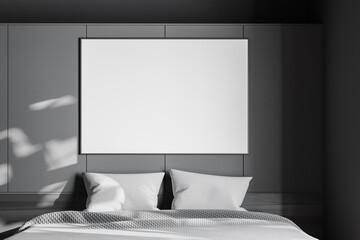 Horizontal poster in grey bedroom