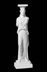 Classic white marble statue woman on a black background