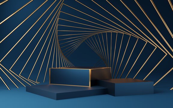 Empty blue cube podium with gold border and gold square on blue background. Abstract minimal studio 3d geometric shape object. Mockup space for display of product design. 3d rendering.