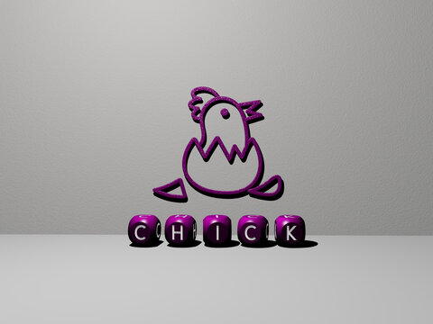 3D representation of chick with icon on the wall and text arranged by metallic cubic letters on a mirror floor for concept meaning and slideshow presentation. bird and chicken
