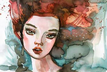 Watercolor Illustration - A fancy portrait, perfect for a book or magazine cover
