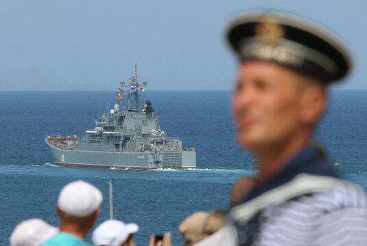 The Russian Navy's large landing ship Caesar Kunikov sails during the Navy Day parade in Sevastopol