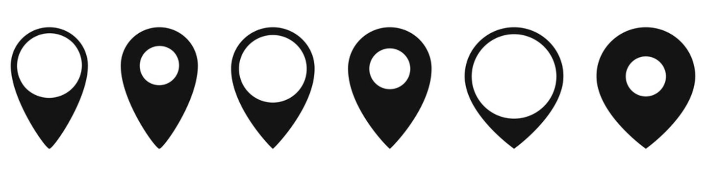 Set of location icons in flat style. Vector icons.