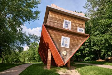 Fototapeta Upside down house attraction. The tourist complex of Dukora, Belarus obraz