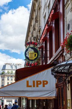 Paris, France - August 29 2019: The brasserie Lipp is a famous establishment on the boulevard Saint Germain.