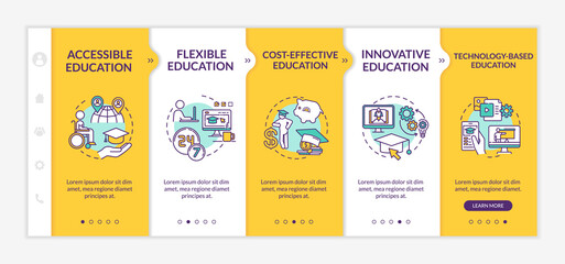 Distance learning advantages onboarding vector template. Online education. Remote learning. Responsive mobile website with icons. Webpage walkthrough step screens. RGB color concept