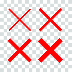 Variants of the wrong, incorrect, false, reject, ban, criss-cross, crossed out, x sign with the four best usable line thicknesses. Vector graphic on transparent background, EPS8.