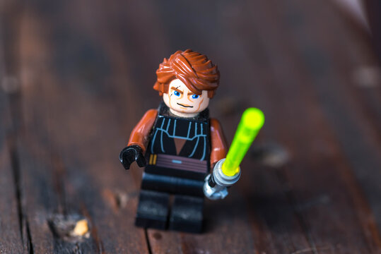 Miercurea Ciuc, Romania- 26 July 2020: Anakin Skywalker Lego figurine holding a green lightsaber.