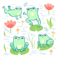 Collection of cute frogs on a white background. Vector graphics.