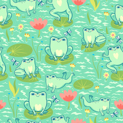 Seamless pattern with frogs in the pond. Vector graphics.