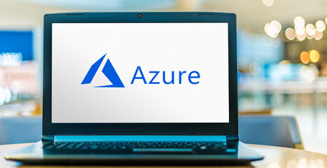 Laptop computer displaying logo of Microsoft Azure