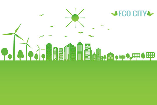 Green city concept and environment conservation. Renewable energy with a wind generators and solar panels.