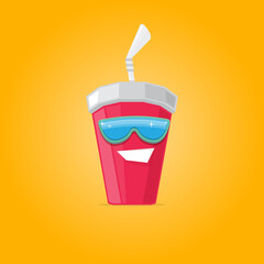 vector funny cartoon cute red party paper cola cup with straw and sunglasses isolated on orange background. funky smiling summer drink character