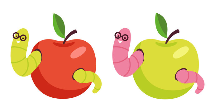 Set of red and green apples with worms