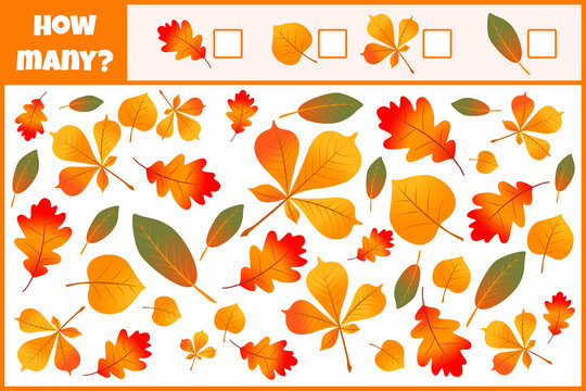 Educational mathematical game. Count the number of leaves. Count how many leaves. Autumn leaves. Counting game for children.