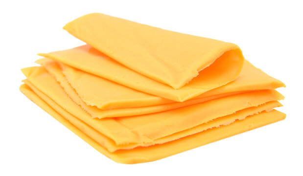 processed sliced cheese isolated on white