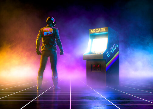 Cyberpunk biker stands near an 80s cabinet arcade videogame on a grid pattern floor on synthwave atmosphere with fog - concept art -3D Rendering