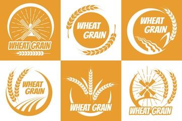 Wheat grain emblem set