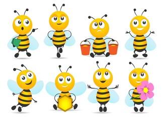 Cartoon honey bee mascot collection