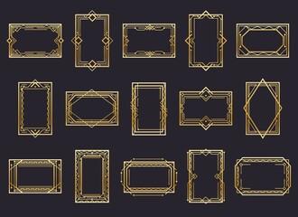 Golden art deco line frames