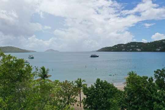 Yacht on Magens Bay Beach St.Thomas, US Virgin Islands Landscape View