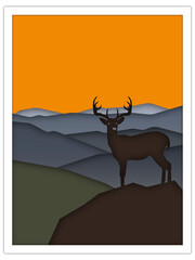 deer + mountains | postcard template