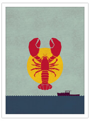 lobster scene | postcard template