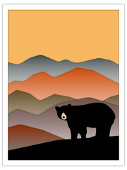black bear + mountains | postcard template