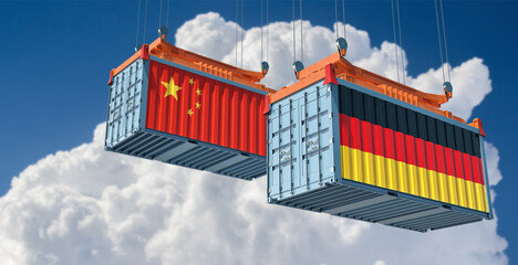 Freight containers with German and China flag. 3D Rendering
