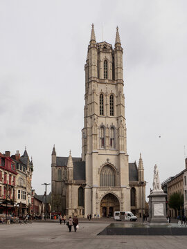 the st bavo cathedral in the middle of ghent