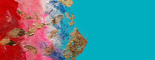 Abstract acrylic  smear blot painting with gold glitter. Color horizontal texture background.