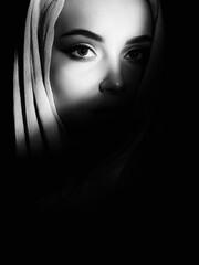 religion beautiful young woman. beauty girl in dark