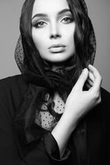 Beautiful young woman. Sorrow girl in veil