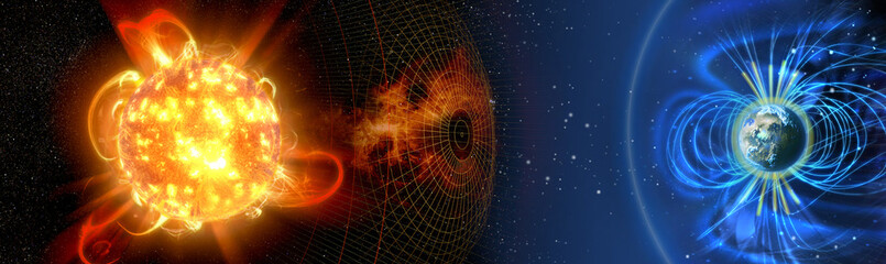 Earth's magnetic field, the Earth, the sun and solar wind, the flow of particles.  Element of this image is furnished by NASA.