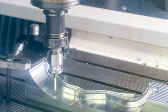 close up automatic coordinate measuring probe during inspection dimension work piece or product on table of machining center for manufacturing process in industrial