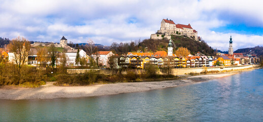 Travel in Germany (Bavaria)-beautiful medieval town Burghausen with biggest castle in Europe. Border with Austria