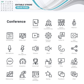 Thin line icons set of conference call and video meeting. Premium quality outline symbols, editable stroke. Pixel perfect. Vector illustrations for website and app development, business presentation.