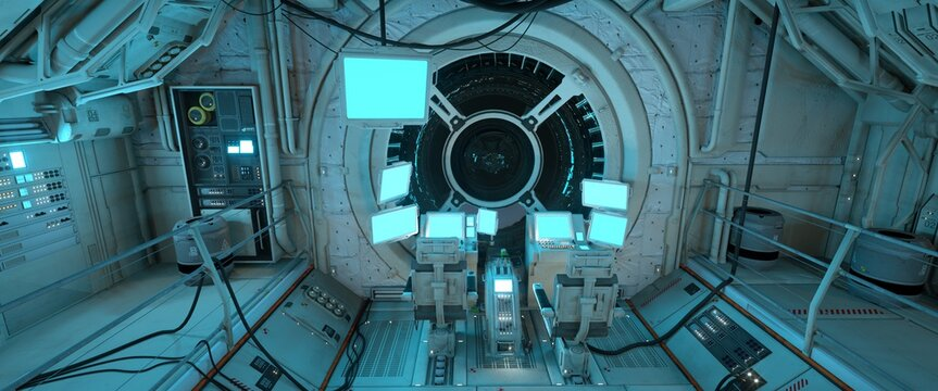 Pilot's seat in the command post of a futuristic spaceship with glowing screens. Sci-fi wallpaper. Photorealistic 3D illustration with high attention to detail.