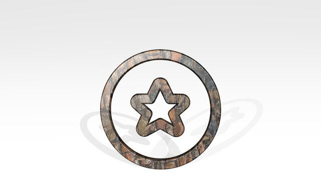 RATING STAR CIRCLE made by 3D illustration of a shiny metallic sculpture casting shadow on light background. concept and icon