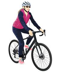 Female biker on white