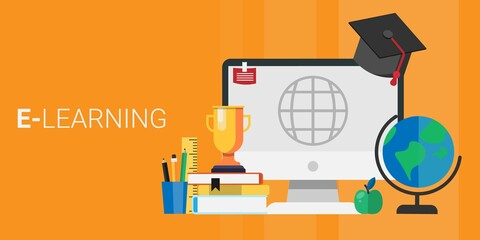 Computer With Academic Cap Standing Over Orange Background, Panorama, Vector
