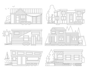 Small Tiny Houses. Modern Mobile Trailers. Vector Icons Illustration.