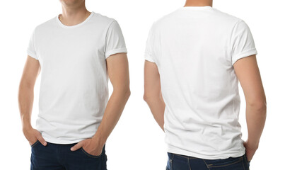 Foto op Canvas Europa Man in t-shirt on white background, closeup with back and front view. Mockup for design