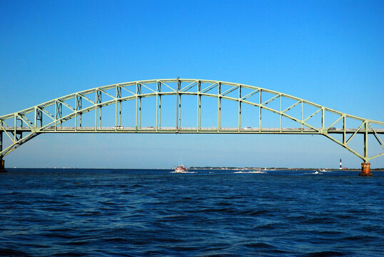 The Fire Island Inlet Bridge, a steel tied arch span over the Great South Bay in Long Island