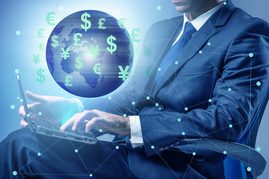 Global money transfer and exchange concept with businessman