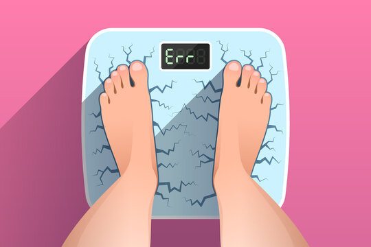 Top view of feet of woman standing on broken cracked weight scales