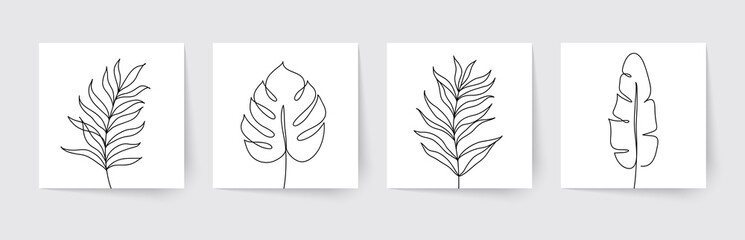 One line drawing of tropical palm leaves. Modern single line art. Vector illustration. Wall mural